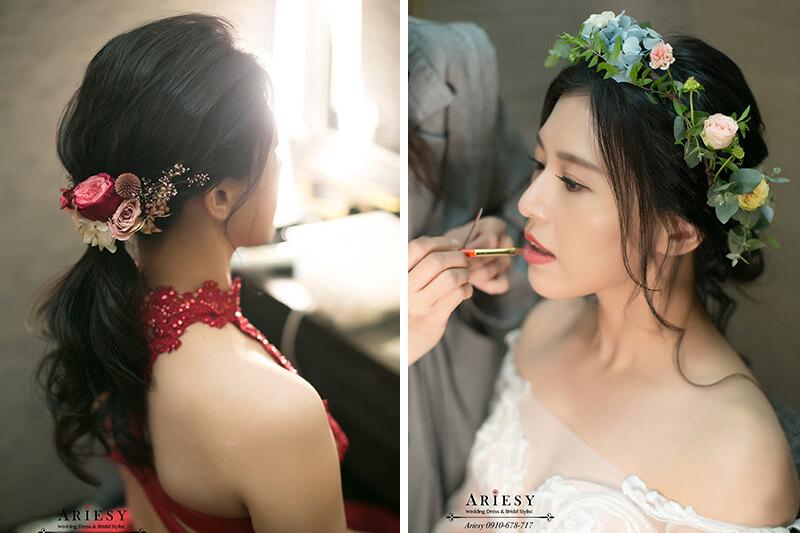 新娘秘書,台北新秘,黑髮新娘髮型,送客類白紗新娘造型,鮮花花環新娘造型,ARIESY