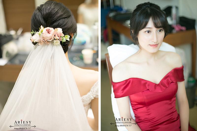 鮮花新娘髮型,文定新娘造型,ariesy,愛瑞思,黑髮新娘造型,清透新娘妝感