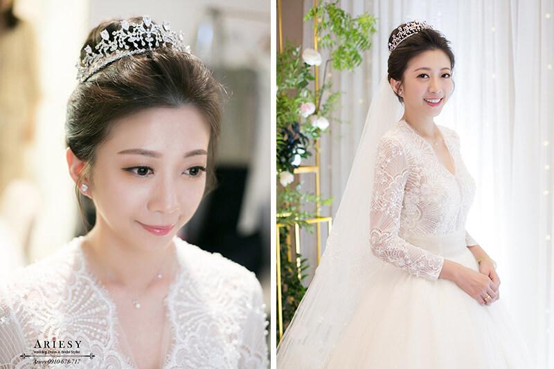 單眼皮新娘,韓風白紗新娘髮型,皇室白紗造型,新娘秘書,新秘,台北新秘,ARIESY,愛瑞思