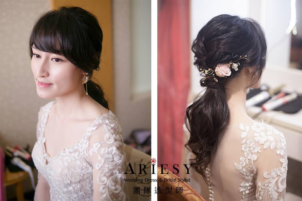 新娘白紗造型,低馬尾造型,台北新秘,新秘,新秘花藝
