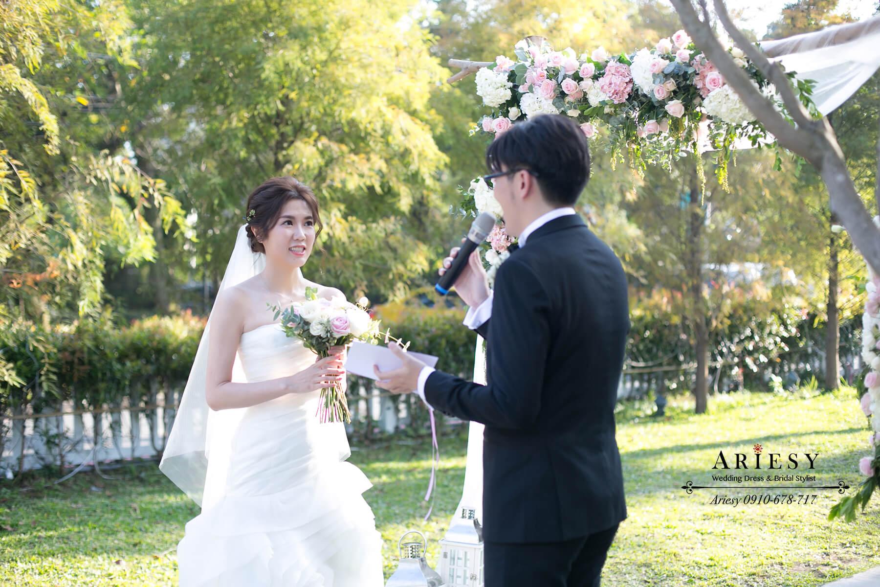 美式戶外證婚新娘造型,歐美新娘髮型,美式婚禮新娘,愛瑞思,ARIESY,陽明山戶外婚禮
