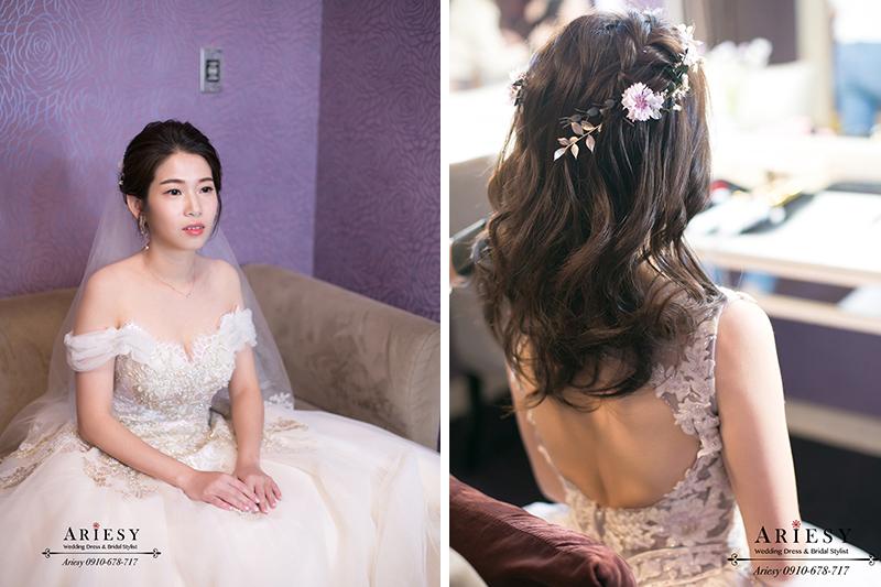 新秘,新娘秘書,愛瑞思,ARIESY,韓風簡約妝感,氣質新娘白紗造型,送客鮮花新娘髮型