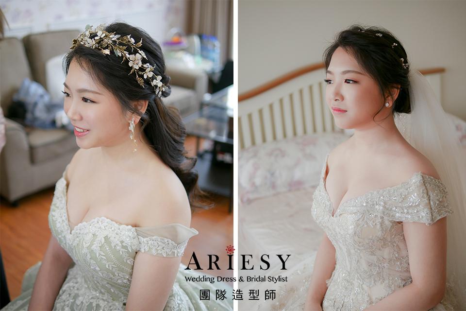 黑髮新娘,台北新秘,編髮造型,花耳環,新娘造型