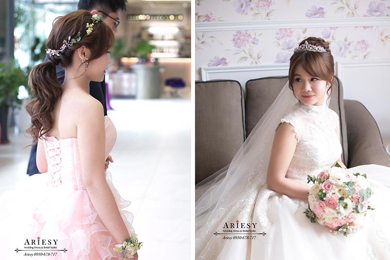 愛瑞思,ARIESY新娘秘書,新秘,公主皇冠白紗進場新娘造型,鮮花新秘,鮮花花環,北部新娘秘書