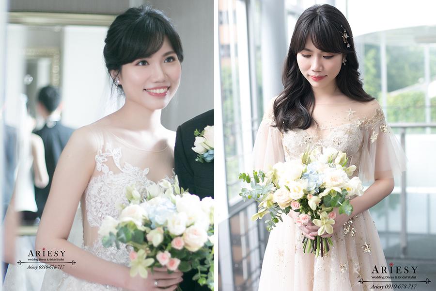新娘秘書,台北新秘,ariesy,黑髮新娘造型,白紗造型,新娘捧花