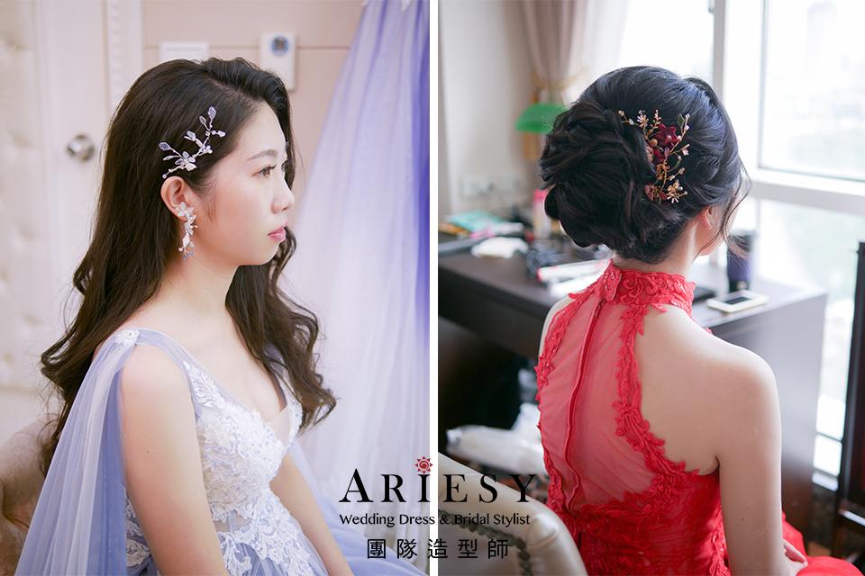 黑髮新娘編髮,新娘髮型,新秘花藝,花耳環,新秘推薦