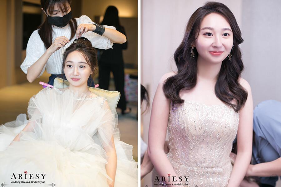 美福,新娘秘書,台北新秘ariesy,白紗韓系黑髮新娘髮型,韓風新娘造型,新娘造型,gucci口紅