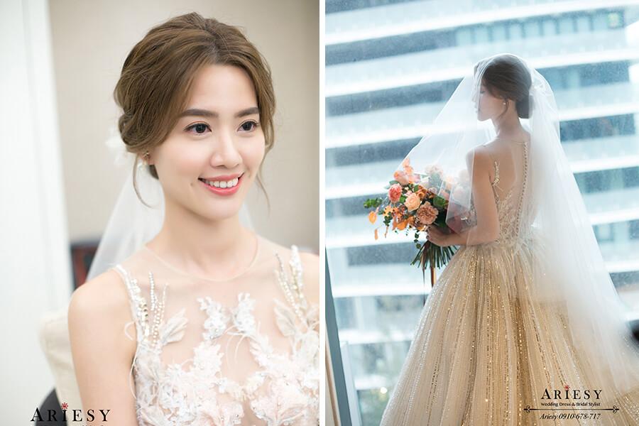 蒂米琪婚紗,萬豪酒店婚宴,新秘推薦,ARIESY,白紗造型,美式新娘造型