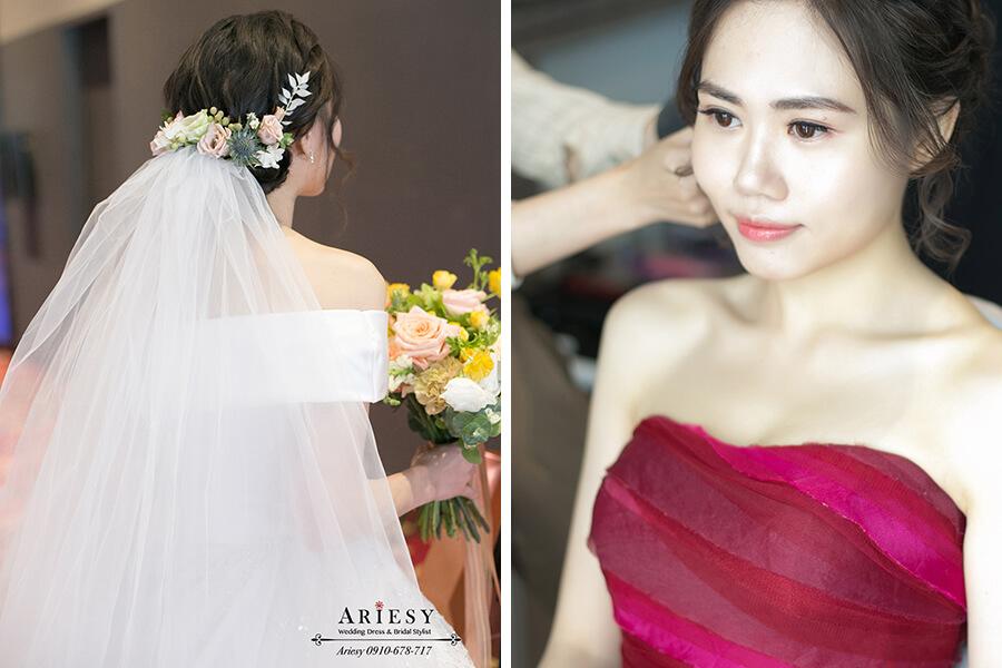 文定造型,鮮花編髮新娘髮型,新娘清透自然妝感,桃園新秘,林莉婚紗禮服,新娘秘書