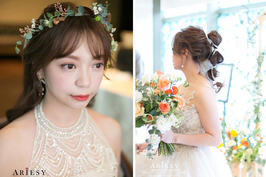 日系新娘白紗造型,鮮花新秘,新娘秘書,愛瑞思,ARIESY,故宮晶華婚禮