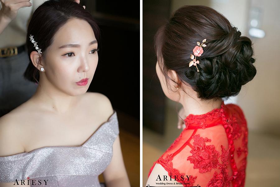 台北新秘,黑髮新娘秘書,旗袍盤髮,新娘編髮短髮造型,國賓文定,時尚新娘髮型