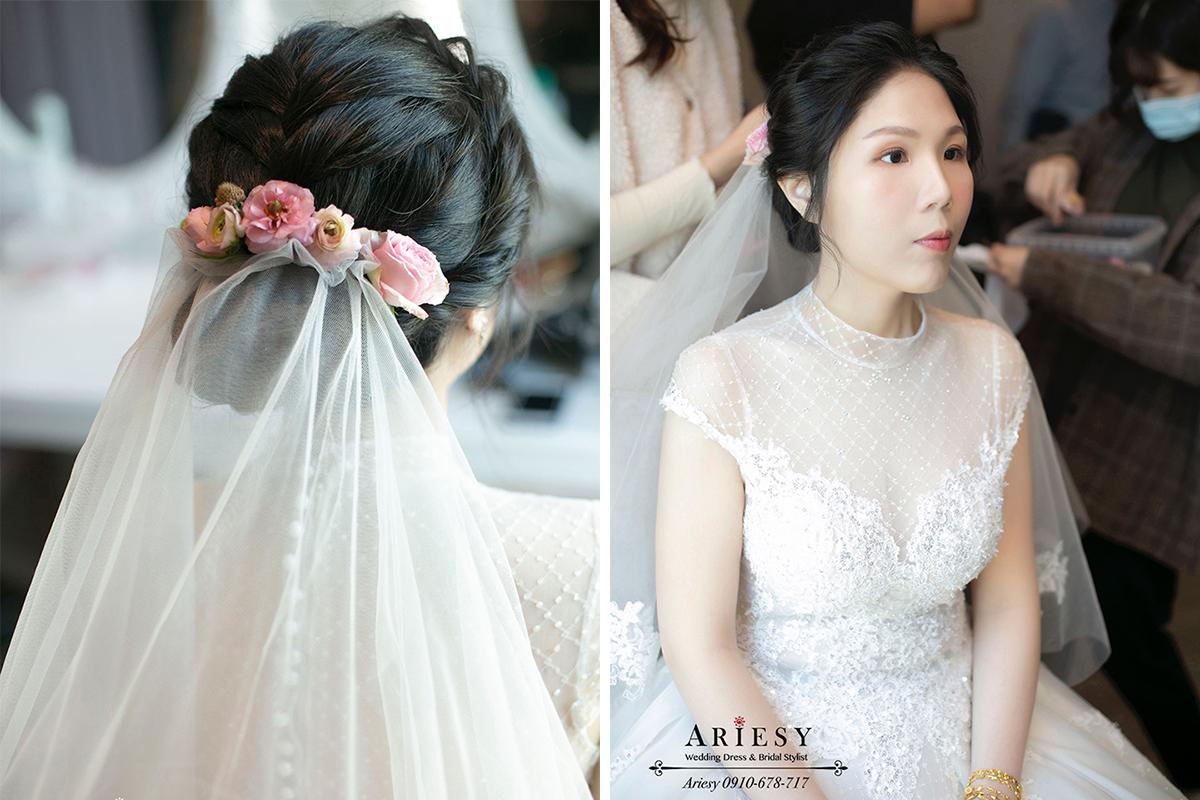 迎娶新娘造型,新秘推薦,新娘秘書,基隆長榮桂冠婚禮,新娘造型,鮮花新娘造型